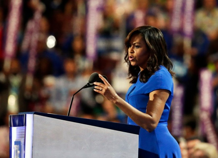 U.S. First lady Michelle Obama addresses the Democratic National Convention in Philadelphia, Pennsylvania, U.S. July 25, 2016. REUTERS/Gary Cameron - RTSJMGG