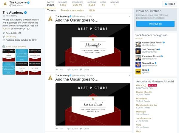 Academia publicou dois ganhadores do Oscar de melhor filme em seu twitter (Foto: Reprodução)